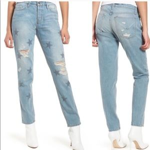 Hudson star riley crop relaxed straight leg jeans